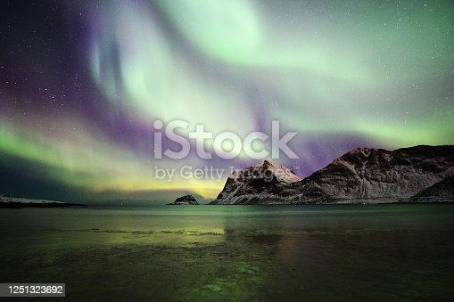 Photo of an Aurora Borealis in the Lofoten Islands in Norway.