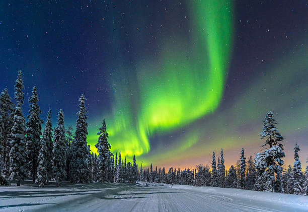 aurora borealis - finland stock pictures, royalty-free photos & images