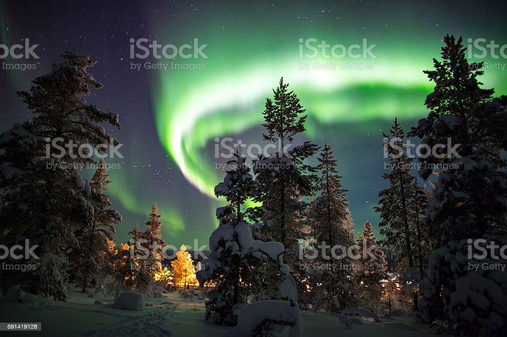 Aurora borealis. stock photo
