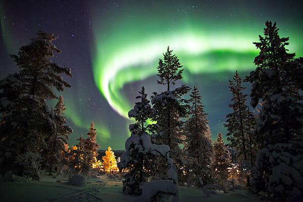 Aurora borealis. ストックフォト