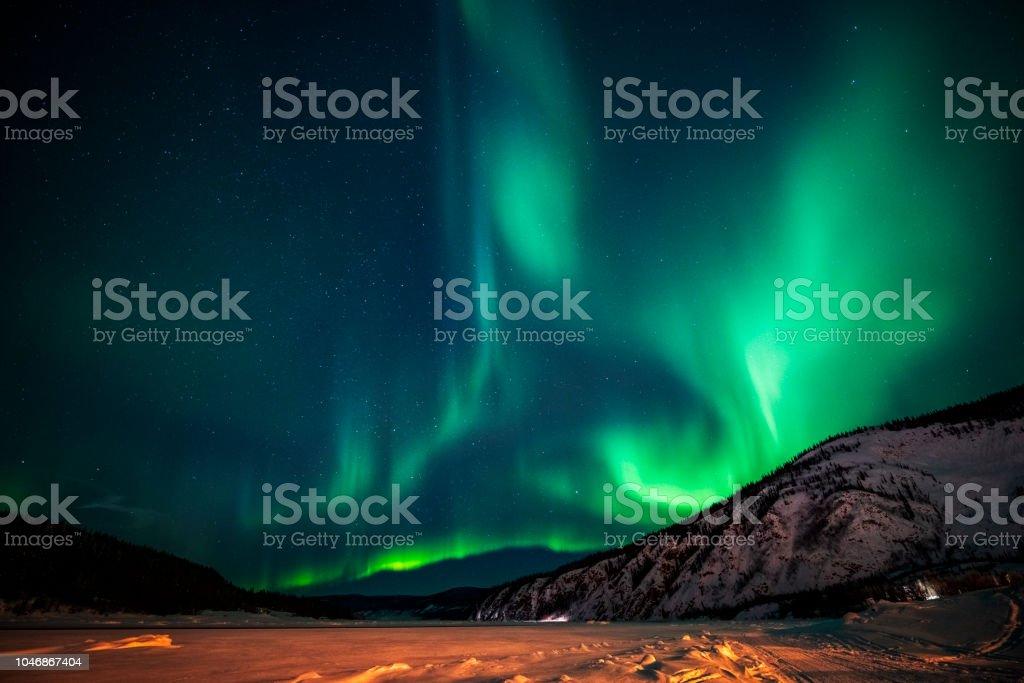 Aurora Borealis, Yukon Territorium, Kanada – Foto