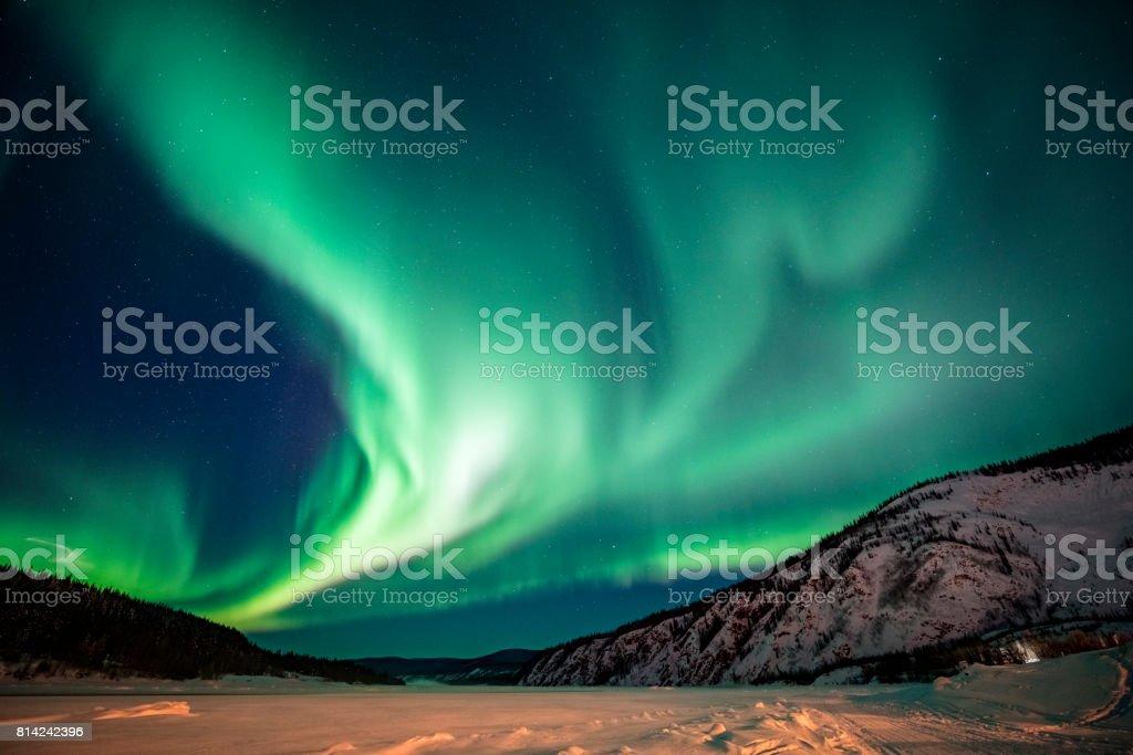Aurora borealis,Yukon Territory,Canada stock photo