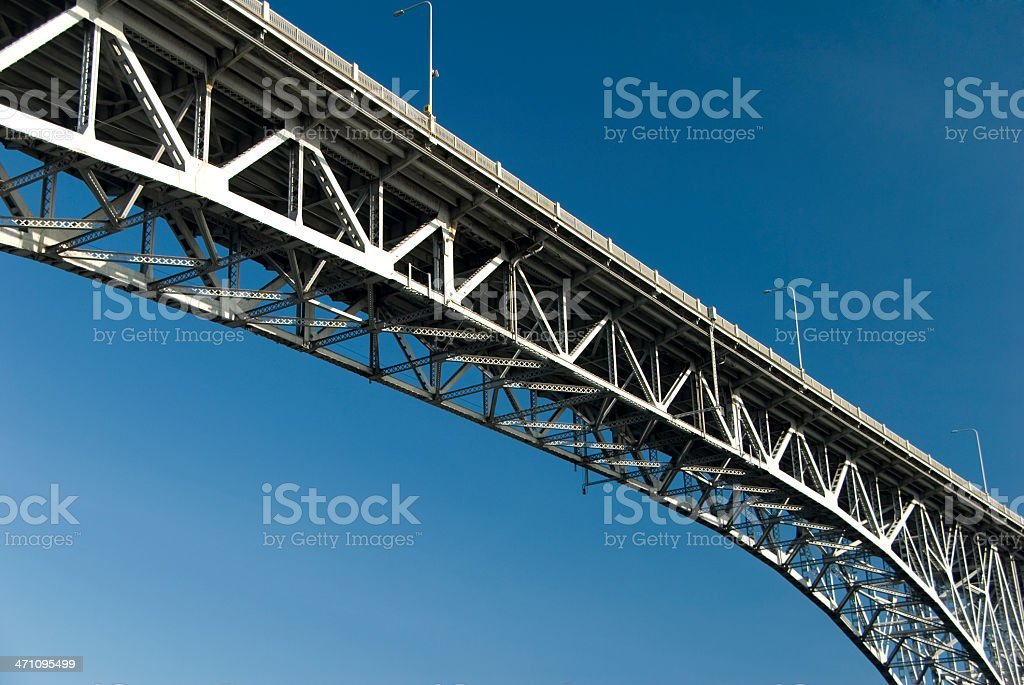 Aurora Bridge in Seattle with blue sky stock photo