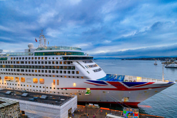 MV Aurora cruise ship of the P&O Cruises fleet docked in harbor due to covid19 restrictions. Concept of cruise ship stop due to pandemic. stock photo