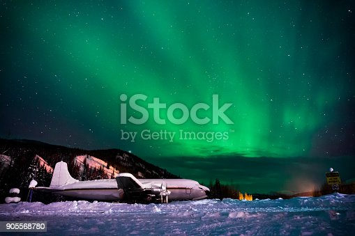 Beautiful northern lights with an obsolete aircraft.