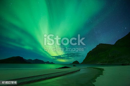 istock Aurora in Haukland Beach, Lofoten, Norway 618327816