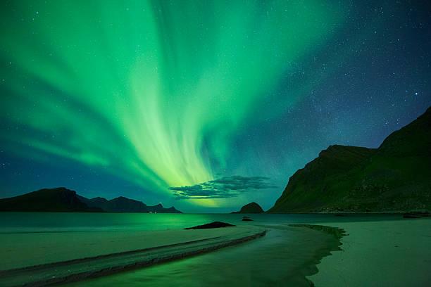 Aurora in Haukland Beach, Lofoten, Norway stock photo