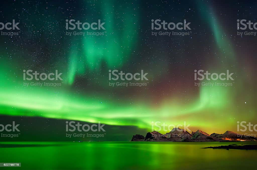 Aurora in Myrland stock photo