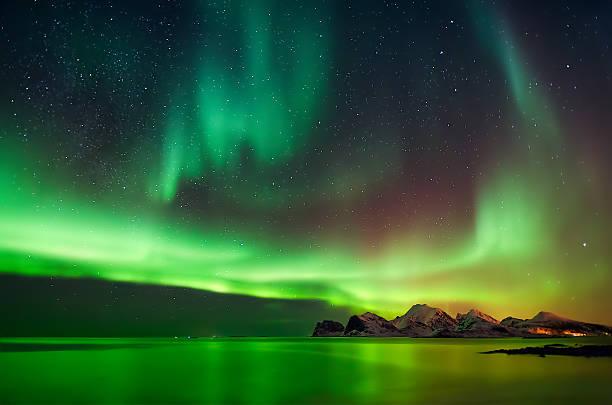Aurora in Myrland stock photo
