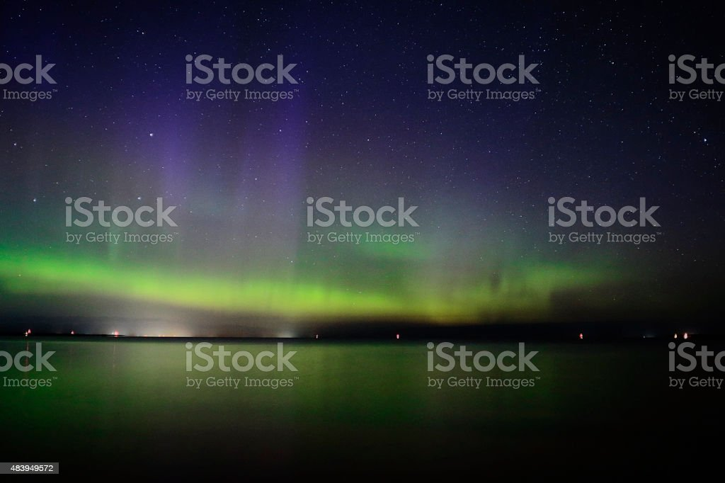 Aurora in Sky and Water stock photo
