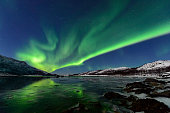 Northern Lights, polar light or Aurora Borealis in the night sky over Senja island in Northern Norway. Snow covered mountains in the background with water of the Norwegian Sea reflecting the lights in the foreground. Moonlight is illuminating the snow covered landscape.