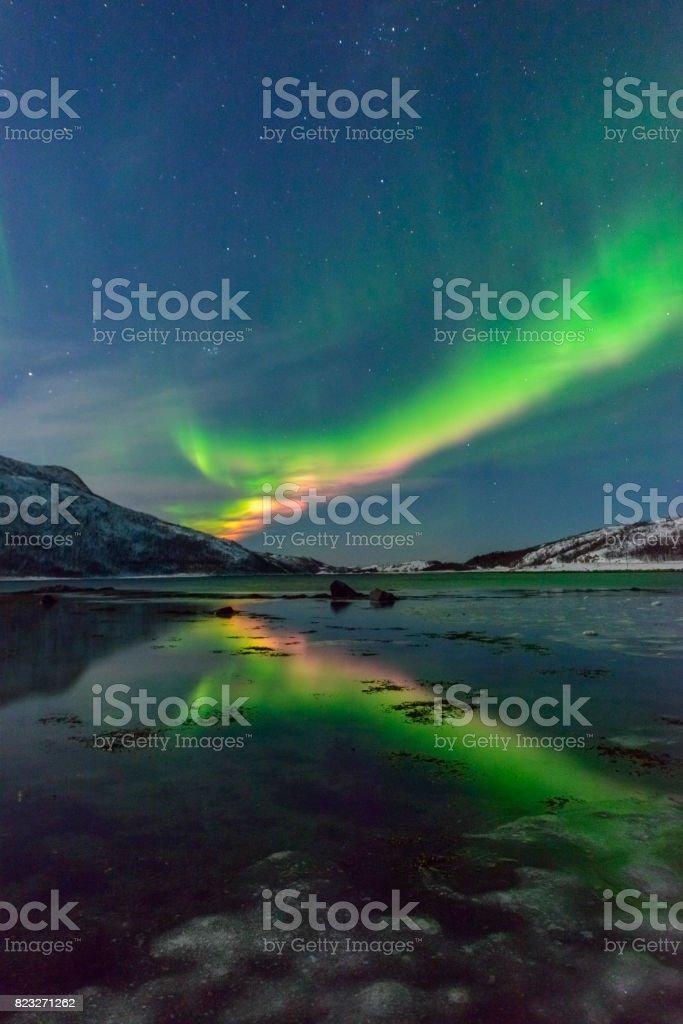 Aurora Northern Polar light in night sky over Northern Norway stock photo