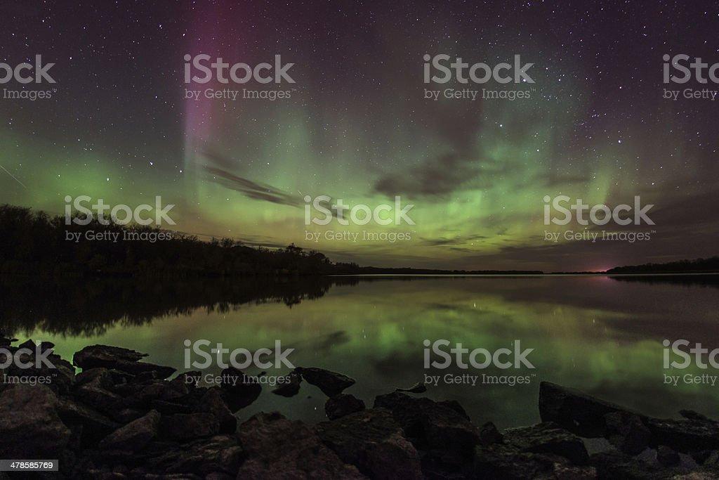 Aurora Over Creek stock photo