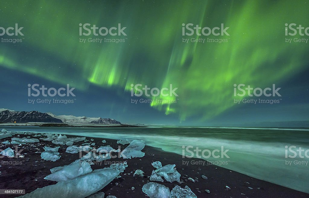 Aurora over Ice Beach stock photo