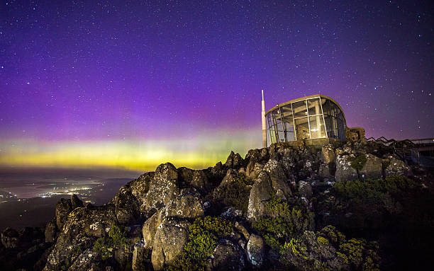 Aurora over Mt. Wellington stock photo