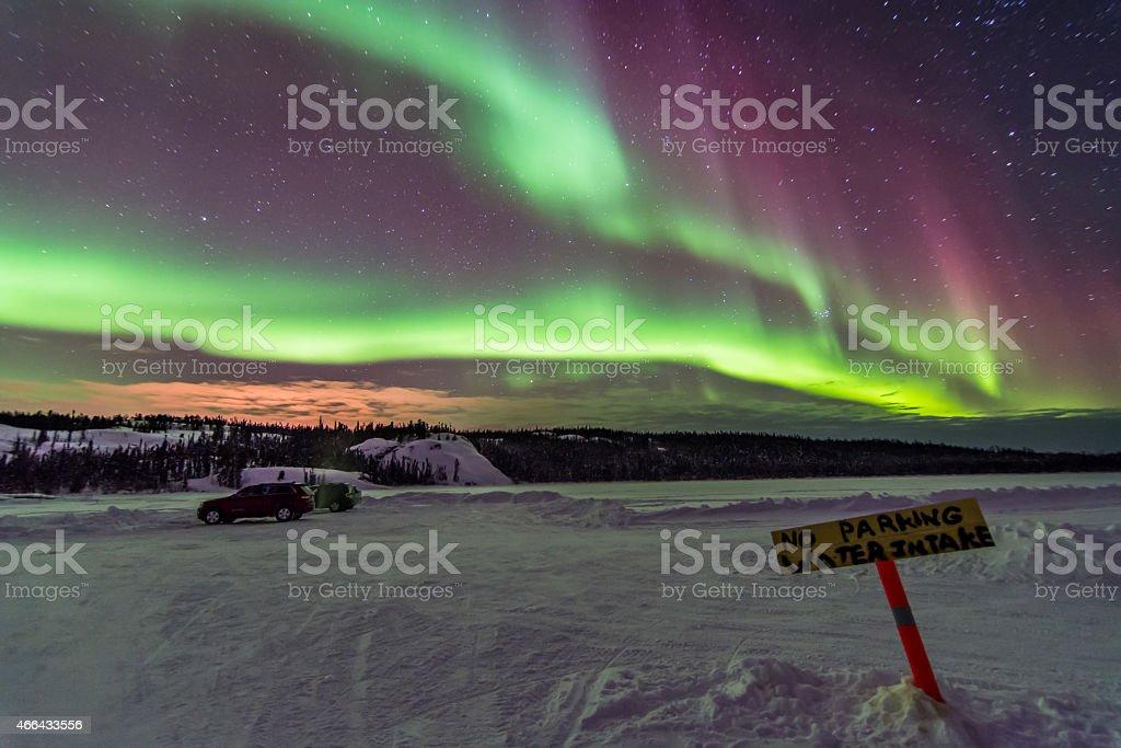 Aurora Over Prelude Lake in Yellowknife, Canada stock photo