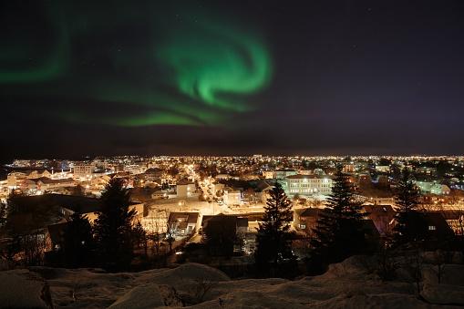 Aurora Over Reykjavik Stock Photo - Download Image Now