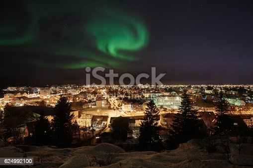 Aurora Over Reykjavik Stock Photo & More Pictures of Arctic