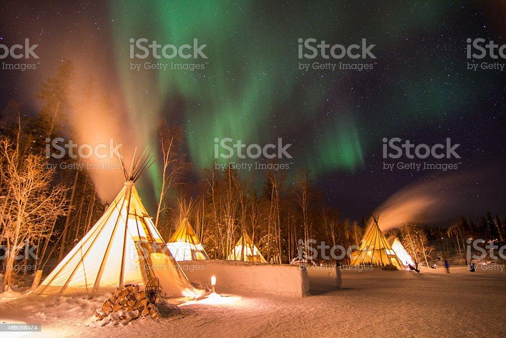 Aurora Over Teepees, Yellowknife stock photo