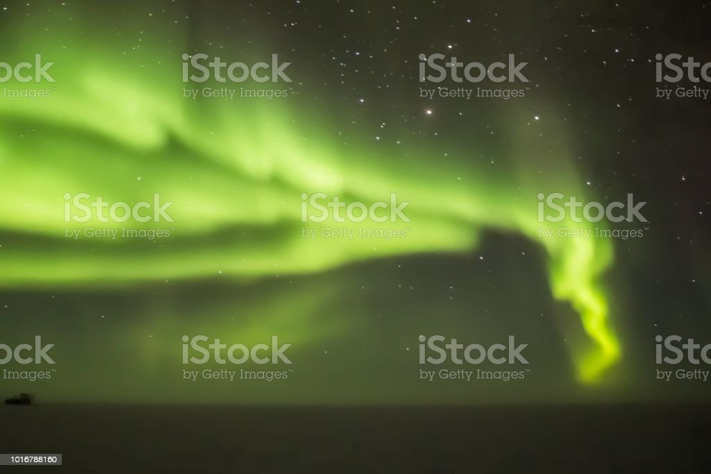 Auroras Over the South Pole stock photo
