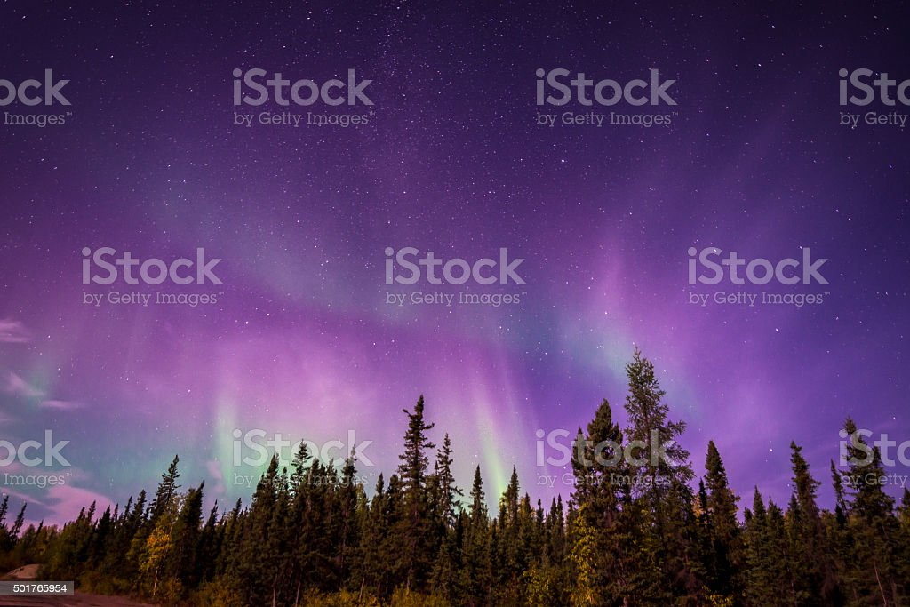 Aurura Borealis over Yellowknife, NT stock photo