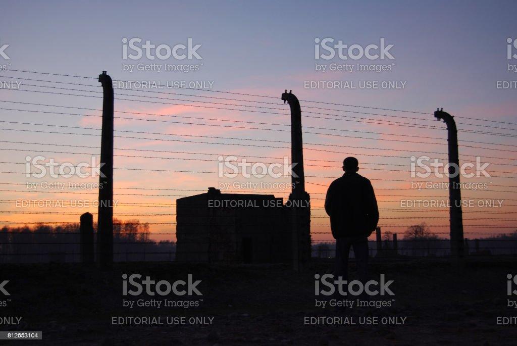 Auschwitz - Birkenau. Barbed wire around a concentration camp. – zdjęcie