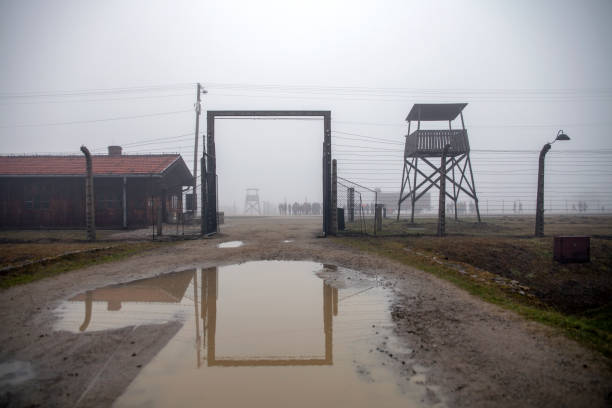Auschwitz - Birkenau, the inner gate in the concentration camp. Exit from the train station to the death camp. German concentration camp in Poland. – zdjęcie