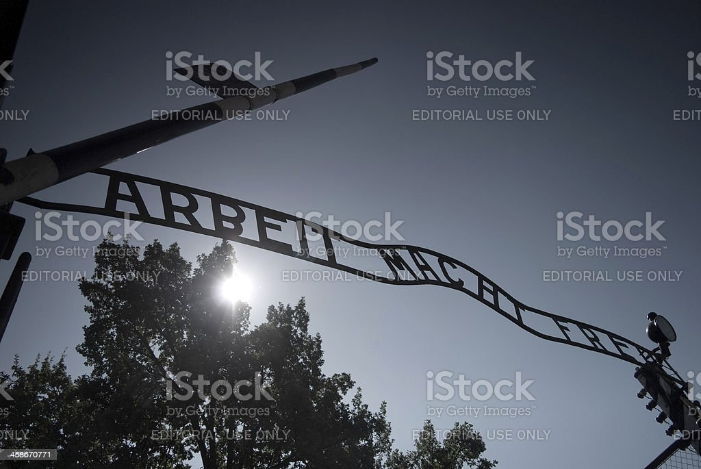 Auschwitz entrance gate royalty-free stock photo