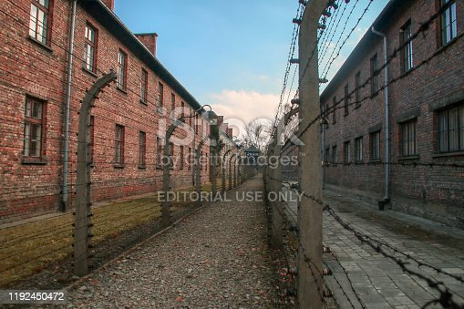Electrified fence and barracks of the concentration camp.