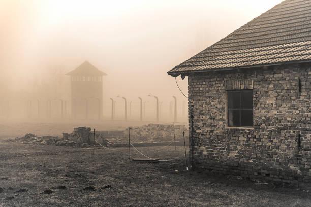 Auschwitz-Birkenau concentration camp. Death barrack. Jewish extermination camp. German death camp in Oswiecim, Poland. – zdjęcie