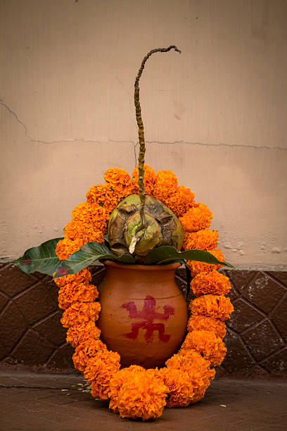 Auspiciousness symbol in Hinduism. stock photo