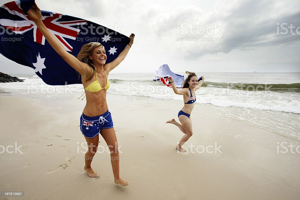 Aussie Beach Girls stock photo