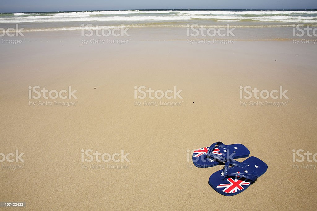 Aussie Beach Thongs stock photo