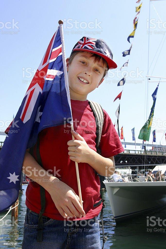 Aussie boy harbourside royalty-free stock photo
