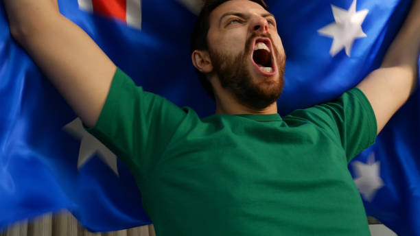 Aussie fan celebrating stock photo
