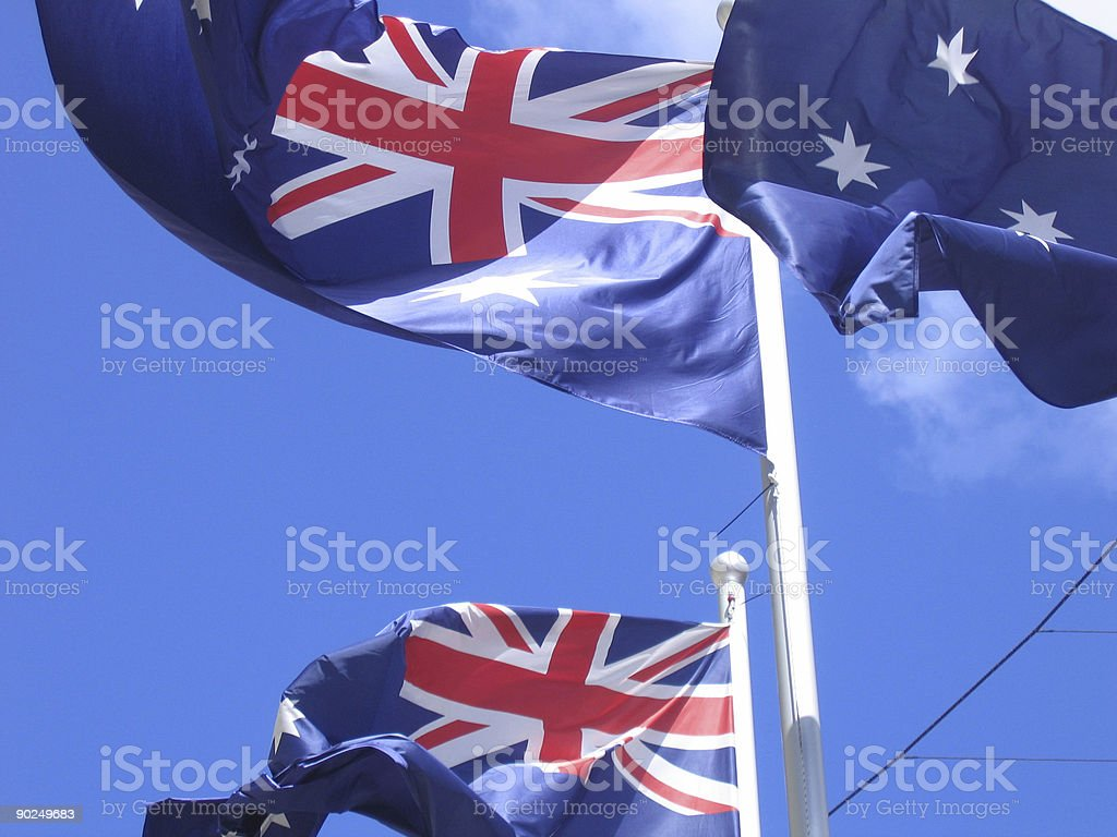 Aussie flags royalty-free stock photo