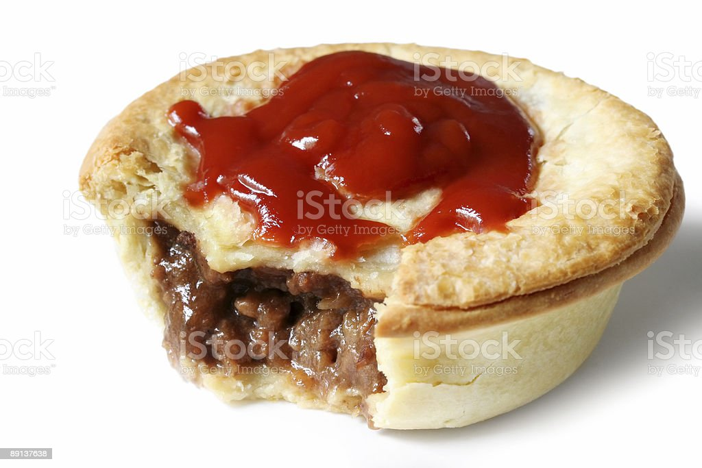 Aussie Meat Pie and Sauce stock photo