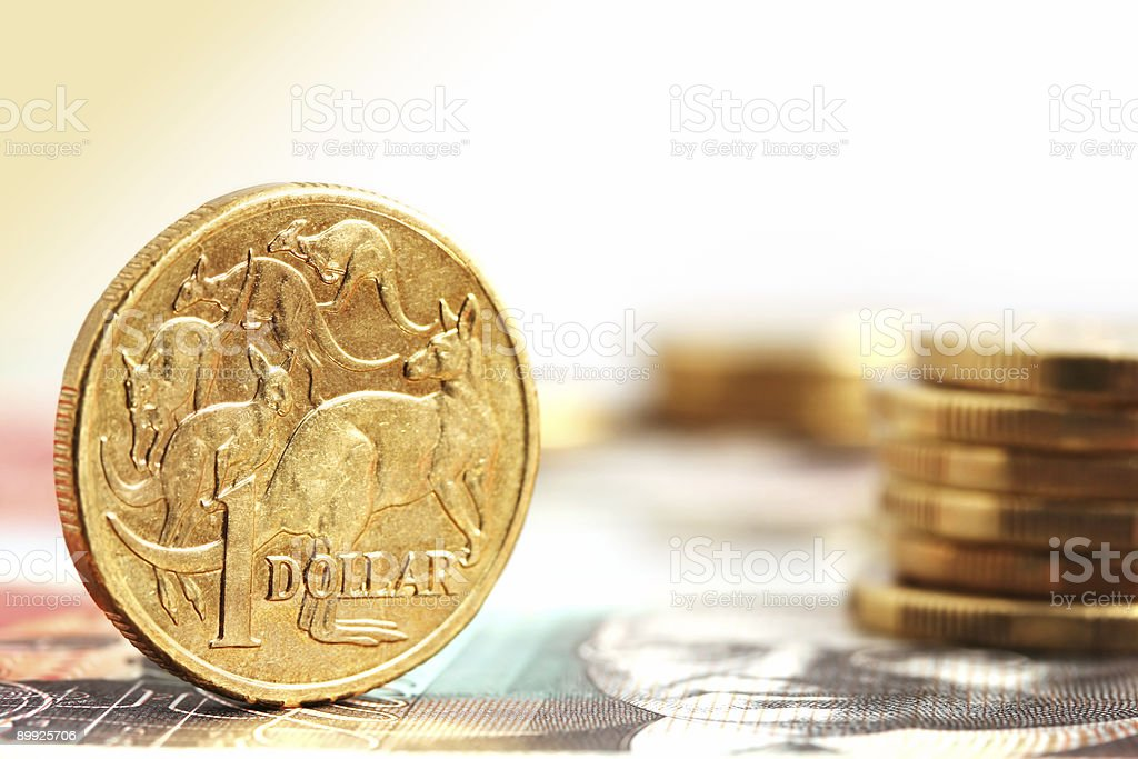 Aussie One Dollar Coins stock photo