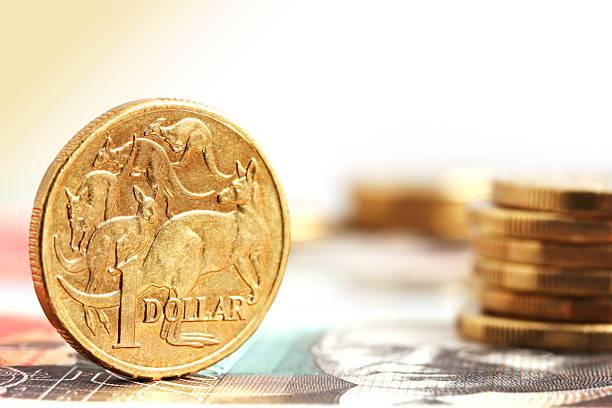 Aussie One Dollar Coins stock photo