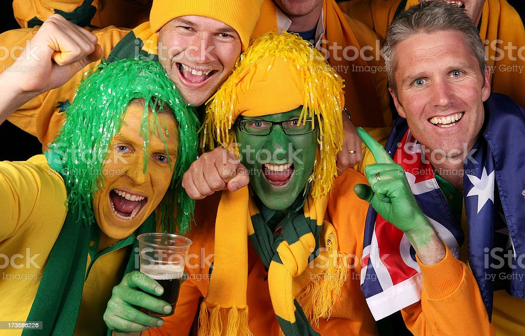 Aussie Sports Fans Celebrate royalty-free stock photo