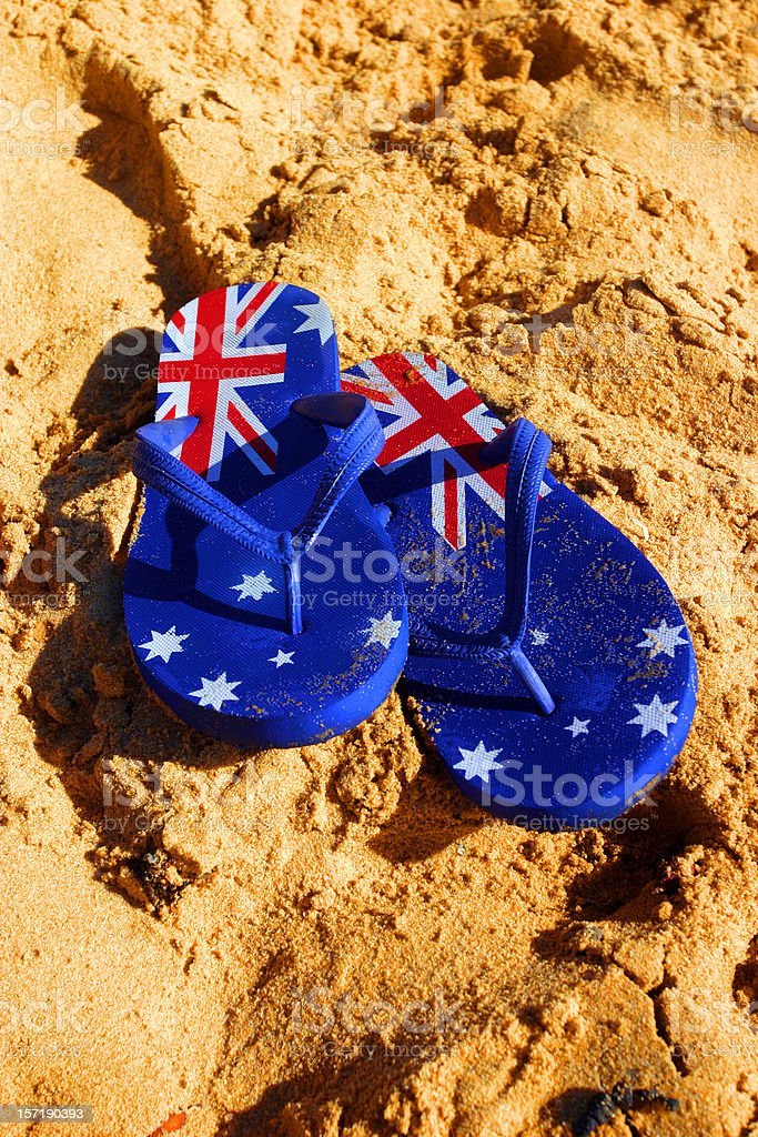 aussie thongs on a beach royalty-free stock photo