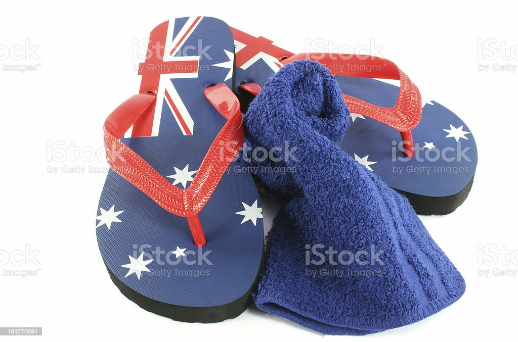 aussie thongs with flag and towel royalty-free stock photo