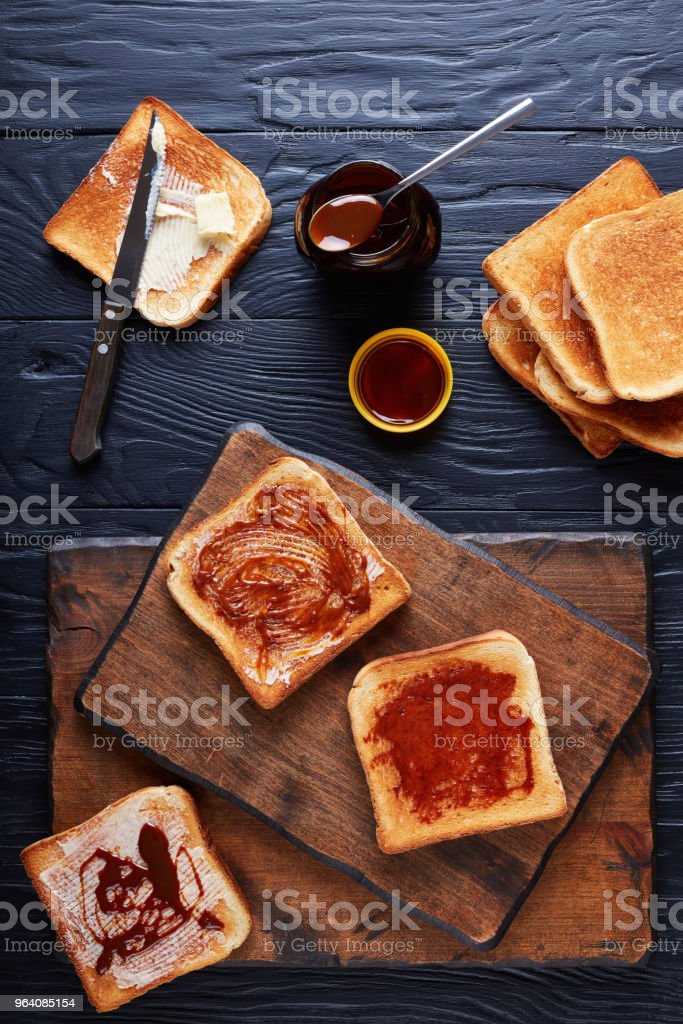 aussie toasts with butter and marmite - Royalty-free Above Stock Photo