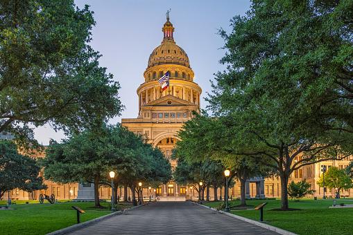 Austin, TX capitol during sunset