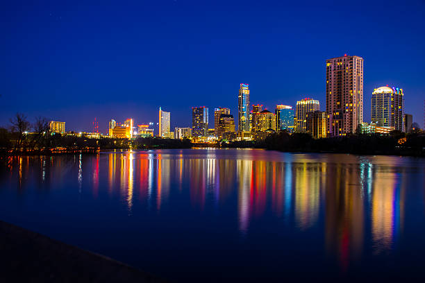 Austin City Lights Reflections of Town Lake Before Sunrise stock photo