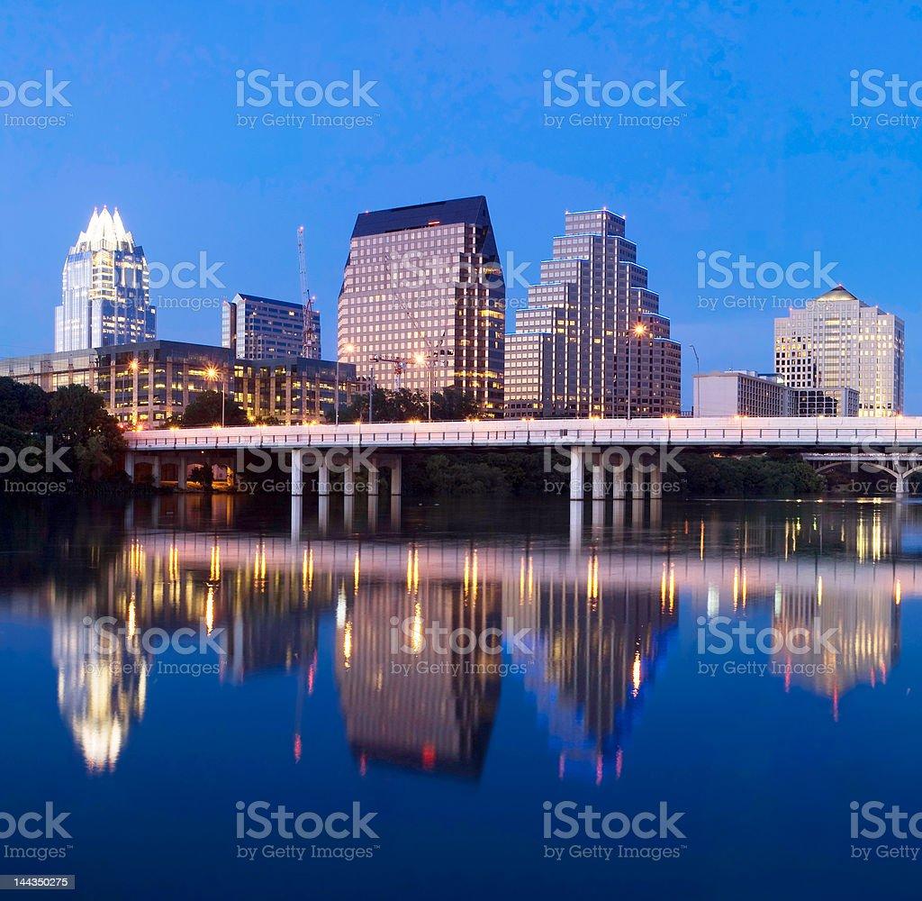 Austin city skyline at night royalty-free stock photo