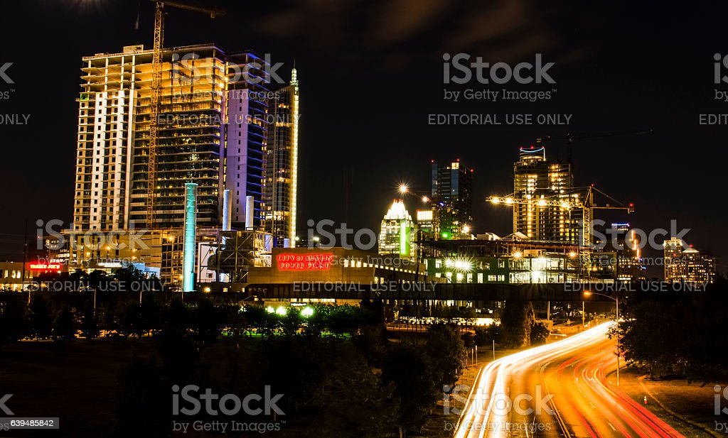 Austin cityscape at night with Power Plant, Trader Joes stock photo