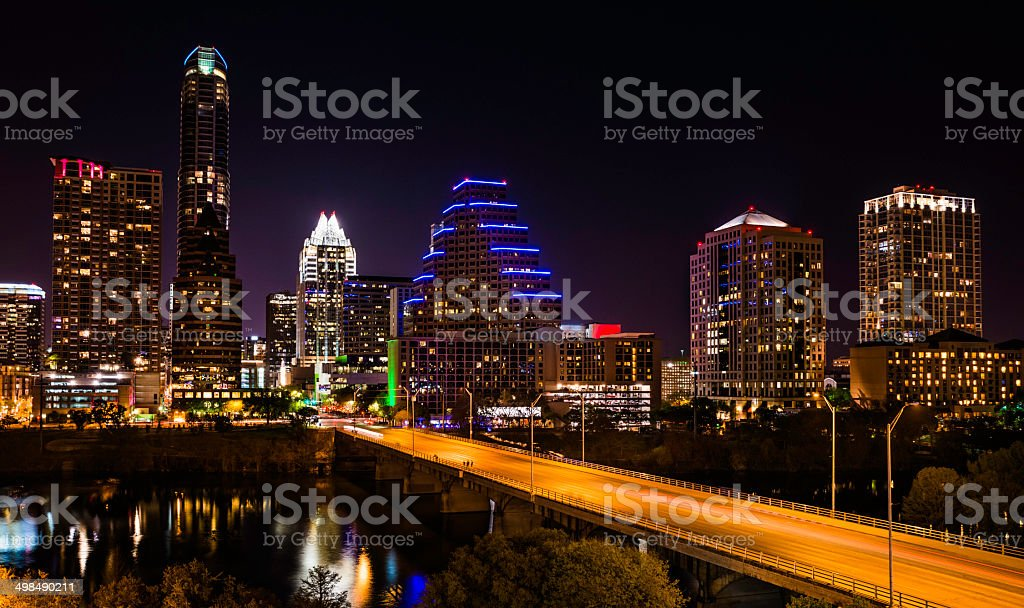 Austin Cityscape Evening Skyline with skyscrapers on Congress Avenue stock photo