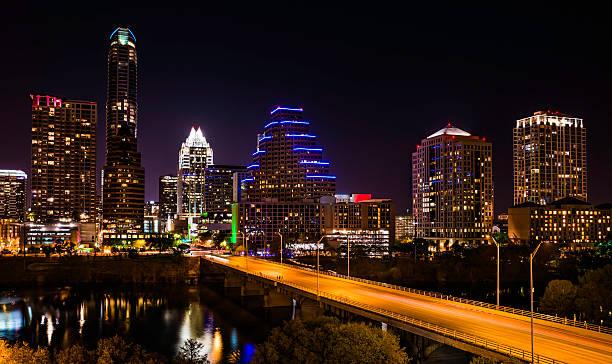 Austin Cityscape Evening Skyline with skyscrapers on Congress Avenue stock photo