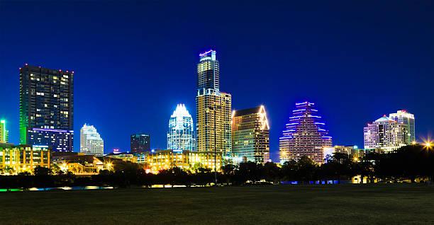 Austin cityscape skyline at night stock photo